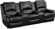 Black Leathersoft Pillowtop 3-Seat Home Theater Recliner w/Storage Consoles