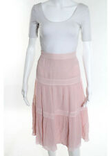 CACHAREL Pink Pleated Silk A Line Skirt Sz 8