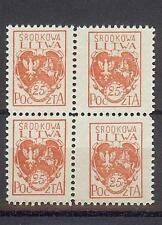 Russia Central Lithuania Litwa 1920 Sc# 1 different size stamps block 4 MNH