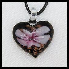 Fashion Women's Love lampwork Murano art glass beaded pendant necklace #Q65