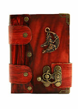 Witch Pendant Red Leather Journal / Diary / Sketchbook / Leatherbound / Lock
