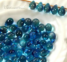 Tear Drop Beads, 5x7mm, Top Drilled, Two-Tone Aqua, 50 Beads
