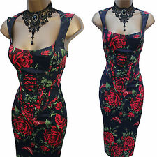 KAREN MILLEN Red Roses Butterfly Lace Trim Oriental Bustier Cocktail Dress 10 UK