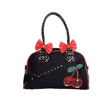 BANNED BLACK RED SUGAR SKULL CHERRY BOMB HANDBAG BAG TATTOO ROCKABILLY NEW