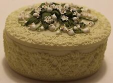 ornate trinket box / lily of the valley on top/botanical bouquets by Dezine/1997