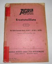 Ersatzteilliste 0/2 Agria für Hirth Zweitakt Motor 80 M1 / 81 M1 / 81 M2 1968