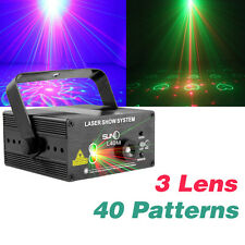 SUNY 3 Lens 40 Patterns RGB Stage Laser Light BLUE LED DJ show Lighting Disco in