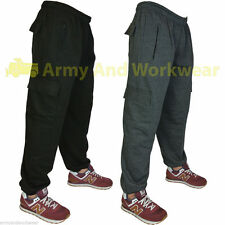 Mens Combat Cuffed Jogging Bottoms Gym Baggy Elasticated Brush Fleece Trouser