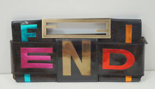 FENDI Marroni in Pelle in Vernice Neon Luminoso metallico Parole Crociate sera CLUTCH BAG