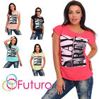 Casual T-Shirt Stay Free Print Crew Neck Short Sleeve Ladies Top Sizes 8-14 FB87