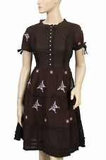 120982 New Odd Molly Embroidered Lace Short Sleeve Brown Cotton Dress M