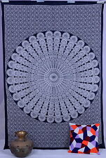 Black & White Mandala Hippie Hippy Wall Hanging Indian Tapestry Throw Bedspread