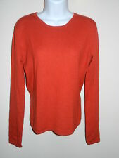 EVELYN GRACE CASHMERE  100% CASHMERE RED WITH BRICK TINT CREWNECK SWEATER L