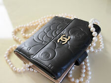 Chanel S-Double Wallet Camellia Lambskin Leather Black/Cream Gold.  Auth NWT