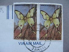 ZAMBIA, cover to the USA 1999, pair insect butterfly