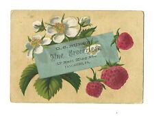 Old Trade Card DS Bursk Fine GROCERIES Coffee Tea Lancaster PA Strawberries