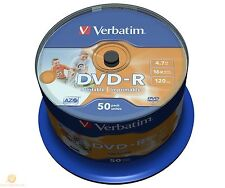50 VERBATIM PRINTABLE 16x Speed DVD-R FULL FACE 43533