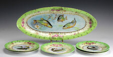 6pc Antique Victoria Carlsbad Austria Porcelain Fish or Game Plates.