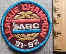 ABC LEAGUE CHAMPION 91-92 PATCH (BOWLING, PINS, BALL)