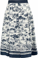 Tory Burch Pleated Printed Silk Skirt in Blue Size:4 NWT