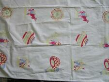 Vintage 1940's Cotton Mexican Motiff Tablecloth Sombreros Donkey's Jugs 49x49