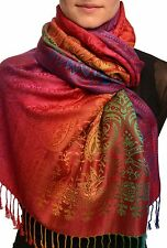 Mirrored Ombre Paisleys On Burgundy Pashmina With Tassels (SF002562)