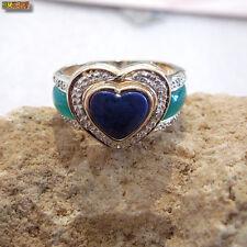 Herz Ring mit Lapislazuli Jade und Diamanten Damenring 585 Gold 14k mit Weißgold