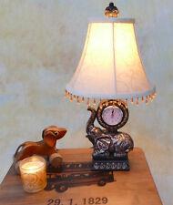 Tischlampe Lampe Schreibtischleuchte mit Uhr und Elefant antik Look edel PQ008-a