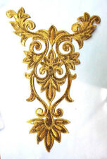 Sequin Applique Gold Bodice Yoke Crafts Sewing Iron on Embroidered 9.75 ~ GB345
