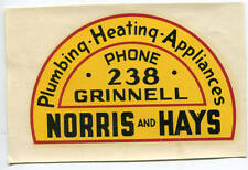 Norris Hays Plumbing Heating Appliances Grinnell Iowa Advertising Decal NOS
