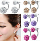 Hot Women Fashion Jewelry 925 Silver Plated Double Beads Crystal Stud Earrings