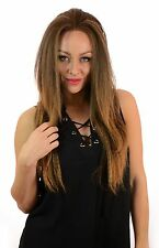 Fergie Yaki Crimped Style Long Lace Front Wig | 4 Rooted Ombre Natural Shades
