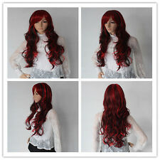 NEW Fashion Black Mix Red Wig Long Wavy Curly Hair Women Cosplay Full Wigs G$