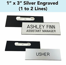 "CUSTOM ENGRAVED SILVER - 1"" x 3"" Name Badge Tag with PIN - Personalized Business"