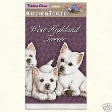 Fiddlers Elbow Lint Free Kitchen Cotton West Highland Terriers White Puppies New