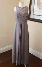 Gray Lace Sleeveless Evening Gown Formal Dress 14 Bridesmaid After Six Floral