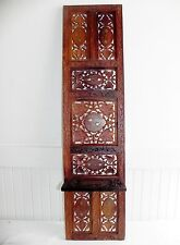 Vintage Anglo Indian Carved Leaf Brass Inlaid Wood Wooden Tall Screen Wall Shelf