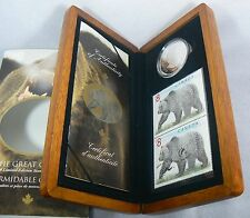 2004 Great Grizzly $8 Limited Ed. Silver Coin & Stamp Set w/COA, Case & Sleeve