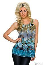 Damen Shirt Top Oberteil Sommer Trägertop blau braun Blumenmuster XL 42 NEU