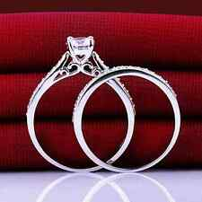 Ring 9ct White Gold filled Diamond Engagement & Eternity set size L Wedding Sale