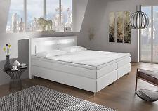 Boxspringbett 160x200 Weiß Brüssel Bett Hotelbett Matratze Topper  cm LED