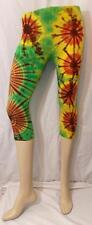 FAIR TRADE TIE DYE PSYCHEDELIC HIPPY BOHO GLASTONBURY 3/4 LEGGINGS FROM THAILAND