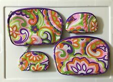 2 Sets Of CLINIQUE ROUND FLORAL PURPLE ORANGE COSMETIC MAKE UP BAG ZIPPER NEW