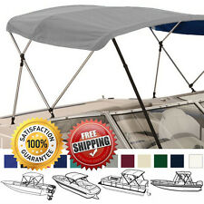 "BIMINI TOP BOAT COVER GREY 3 BOW 72""L 36""H 67""-72""W - W/ BOOT & REAR POLES"