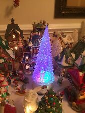 "Animated Xmas Village 11"" LED Christmas Tree With Whirlwind Snow Globe Effect"