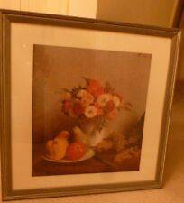 """Oil Painting. Still Life. Wood Frame.Fruit. Flowers.27.5""""x27"""" Large.Reproduction"""
