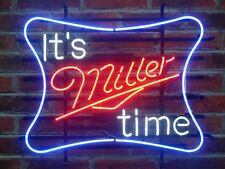 "New It's Miller Time Miller Lite Beer Lager Neon Sign 20""x16"""