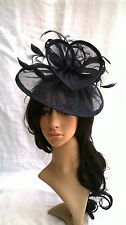 Navy Blue Sinamay & feather saucer disc fascinator,..Wedding.races..headband