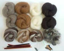Natural 3D Animal Needle Felting Booster Kit Inc Wool, Coloured Glass Eyes, etc