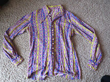 Paisley Long Puffy Sleeve Shirt colorful Psychedelic Hippie 60's Unisex UNIQUE!!